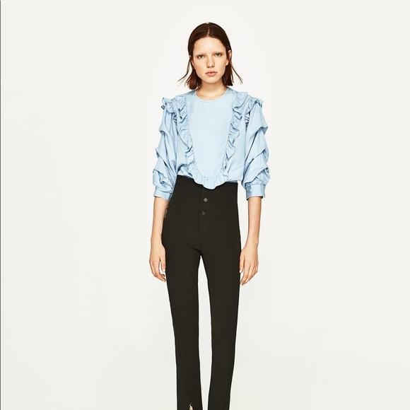 ed05a4dd Zara Tops   Nwt Chambray Bib Ruffled Frill Sleeve Blouse   Poshmark
